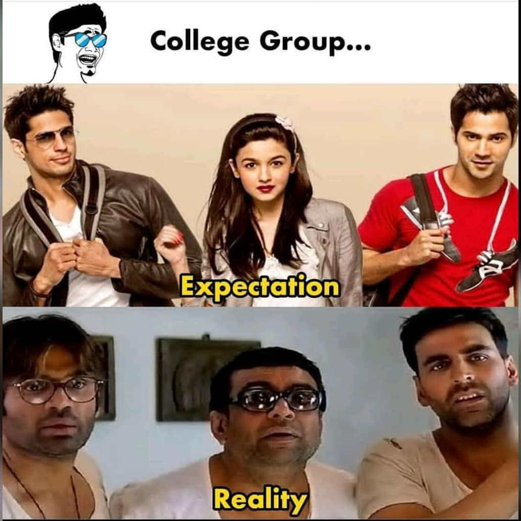 college expectations vs reality meme