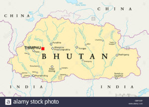 Bhutan with its capital on the map