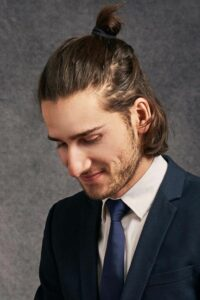 half up half down hairstyle for men to look professional