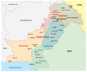 Pakistan with its capital city on the map